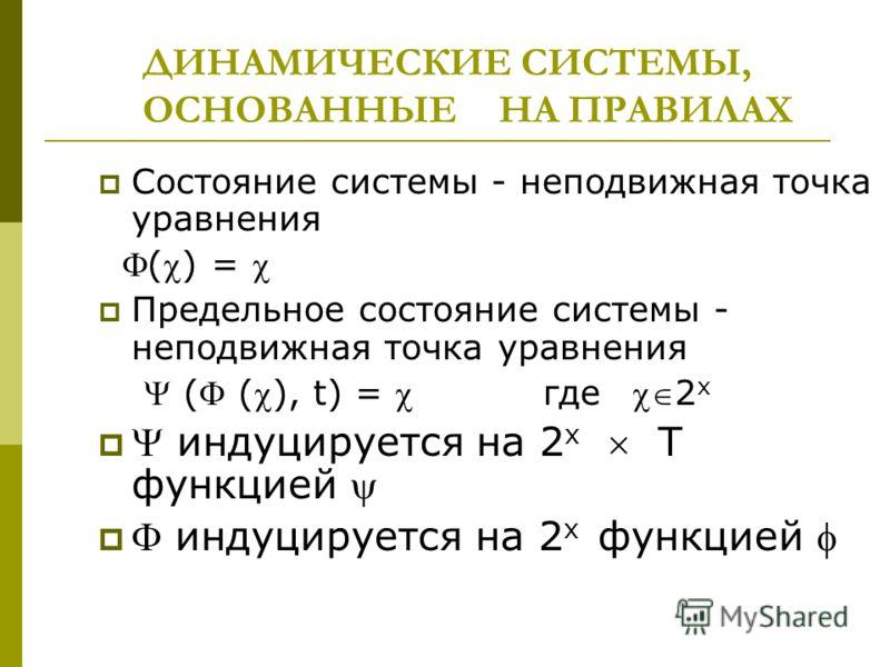 ДИНАМИЧЕСКИЕ СИСТЕМЫ, ОСНОВАННЫЕ НА ПРАВИЛАХ Состояние системы - неподвижная точка уравнения () = Предельное состояние системы - неподвижная точка уравнения ( (), t) = где 2 х индуцируется на 2 х Т функцией индуцируется на 2 х функцией