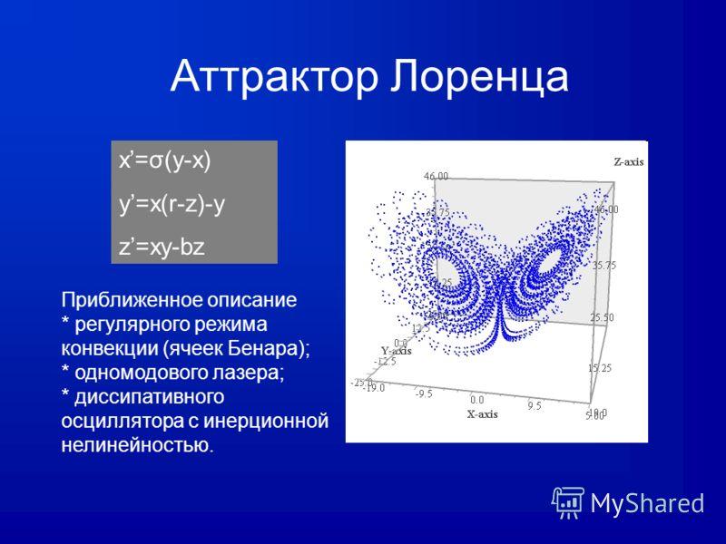 Аттрактор Лоренца x=σ(y-x) y=x(r-z)-y z=xy-bz Приближенное описание * регулярного режима конвекции (ячеек Бенара); * одномодового лазера; * диссипативного осциллятора с инерционной нелинейностью.