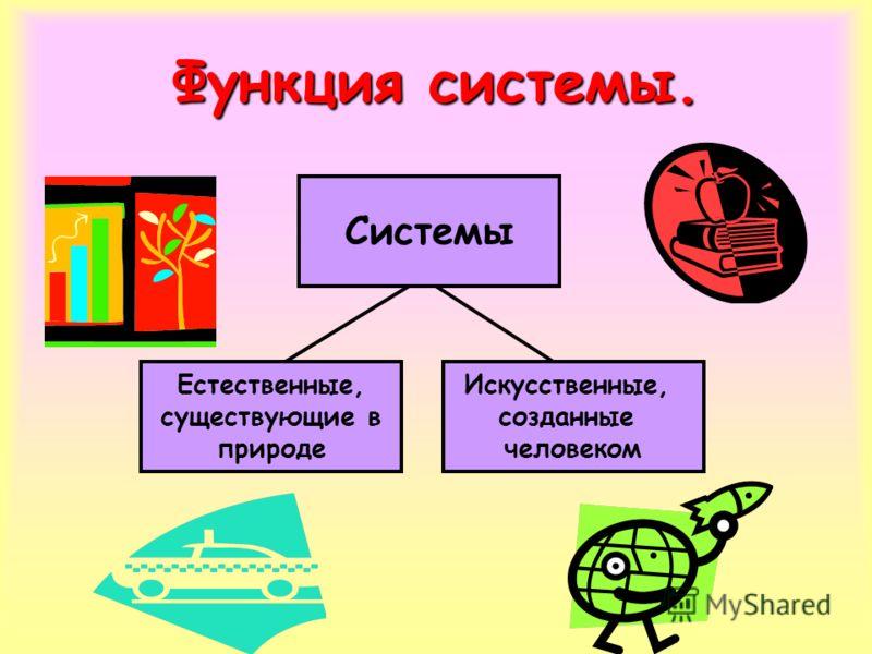 Функция системы. Системы Естественные, существующие в природе Искусственные, созданные человеком