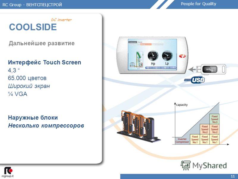 11 Дальнейшее развитие Интерфейс Touch Screen 4,3 65.000 цветов Широкий экран ¼ VGA Наружные блоки Несколько компрессоров RC Group - ВЕНТСПЕЦСТРОЙ COOLSIDE DC inverter People for Quality