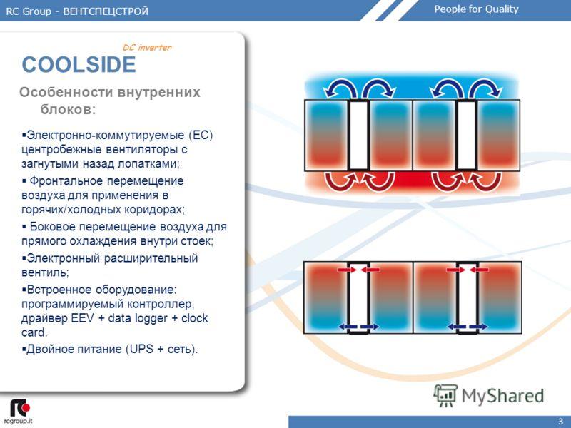 3 Особенности внутренних блоков: Электронно-коммутируемые (EC) центробежные вентиляторы с загнутыми назад лопатками; Фронтальное перемещение воздуха для применения в горячих/холодных коридорах; Боковое перемещение воздуха для прямого охлаждения внутр