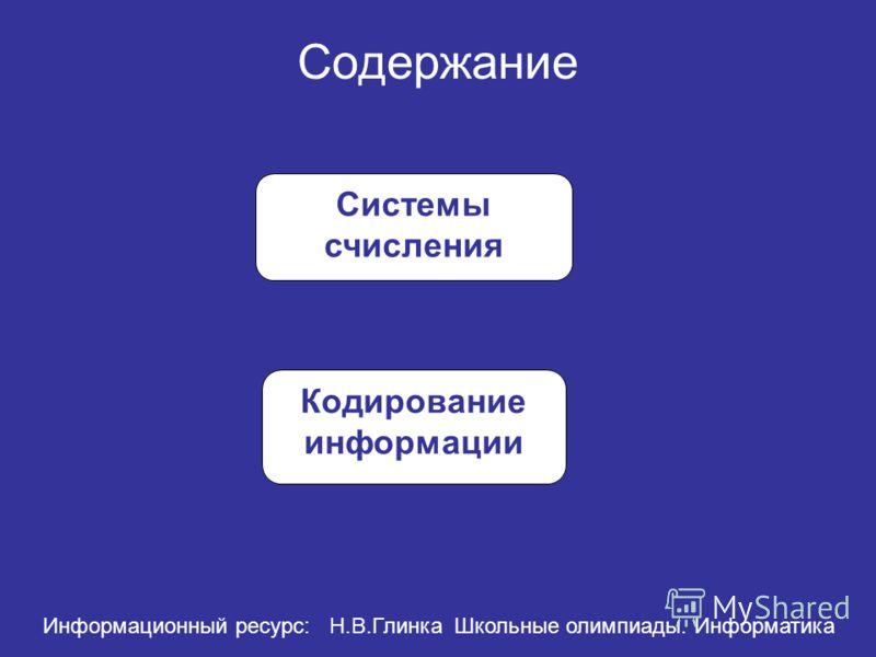 Содержание Системы счисления Кодирование информации Информационный ресурс: Н.В.Глинка Школьные олимпиады. Информатика