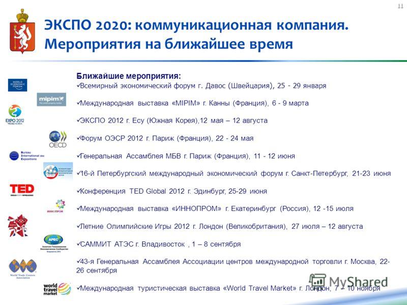 11 ЭКСПО 2020: коммуникационная компания. Мероприятия на ближайшее время Ближайшие мероприятия: Всемирный экономический форум г. Давос (Швейцария), 25 - 29 января Международная выставка «MIPIM» г. Канны (Франция), 6 - 9 марта ЭКСПО 2012 г. Есу (Южная
