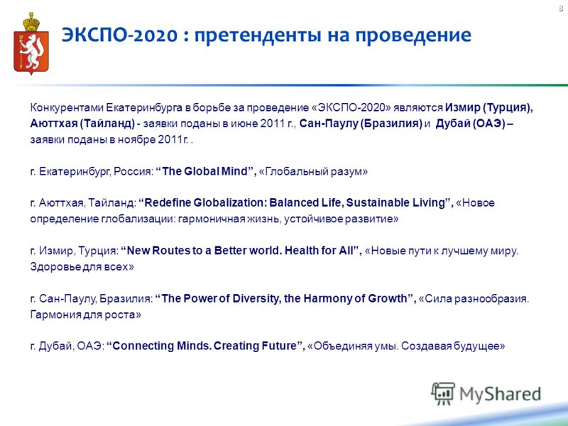 8 Конкурентами Екатеринбурга в борьбе за проведение «ЭКСПО-2020» являются Измир (Турция), Аюттхая (Тайланд) - заявки поданы в июне 2011 г., Сан-Паулу (Бразилия) и Дубай (ОАЭ) – заявки поданы в ноябре 2011г.. г. Екатеринбург, Россия: The Global Mind,