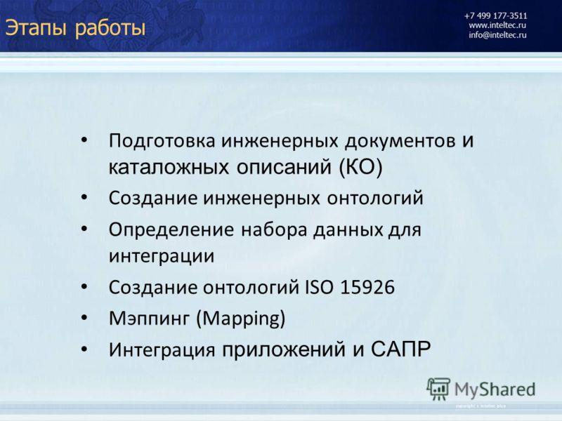 Этапы работы Подготовка инженерных документов и каталожных описаний (КО) Создание инженерных онтологий Определение набора данных для интеграции Создание онтологий ISO 15926 Мэппинг (Mapping) Интеграция приложений и САПР