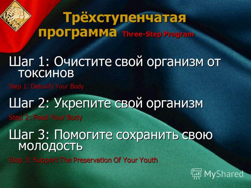 Трёхступенчатая программа Three-Step Program Шаг 1: Очистите свой организм от токсинов Step 1: Detoxify Your Body Шаг 2: Укрепите свой организм Step 2: Feed Your Body Шаг 3: Помогите сохранить свою молодость Step 3: Support The Preservation Of Your Y