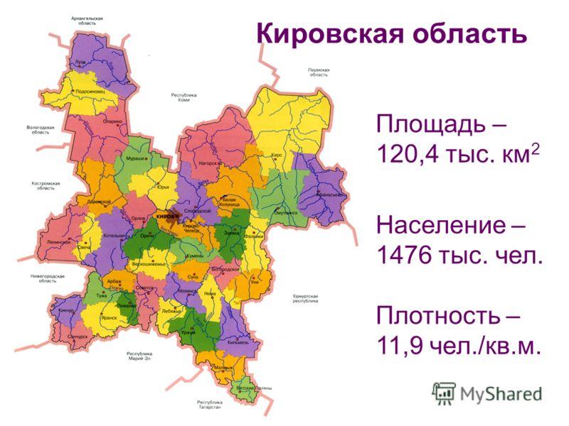 Площадь – 120,4 тыс. км 2 Население – 1476 тыс. чел. Плотность – 11,9 чел./кв.м. Кировская область