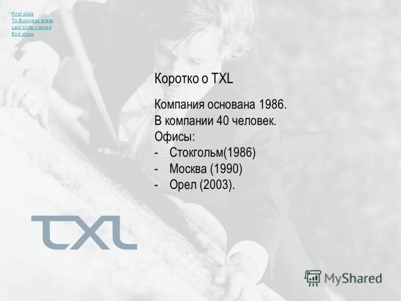 Компания основана 1986. В компании 40 человек. Офисы: -Стокгольм(1986) -Москва (1990) -Орел (2003). First slide To Business areas Last slide viewed End show Коротко о TXL