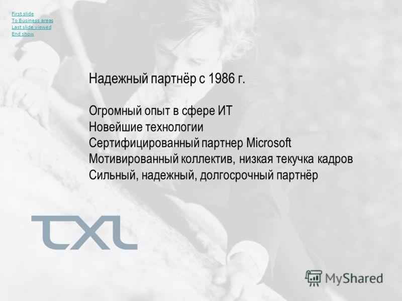 Надежный партнёр с 1986 г. First slide To Business areas Last slide viewed End show Огромный опыт в сфере ИТ Новейшие технологии Сертифицированный партнер Microsoft Мотивированный коллектив, низкая текучка кадров Сильный, надежный, долгосрочный партн