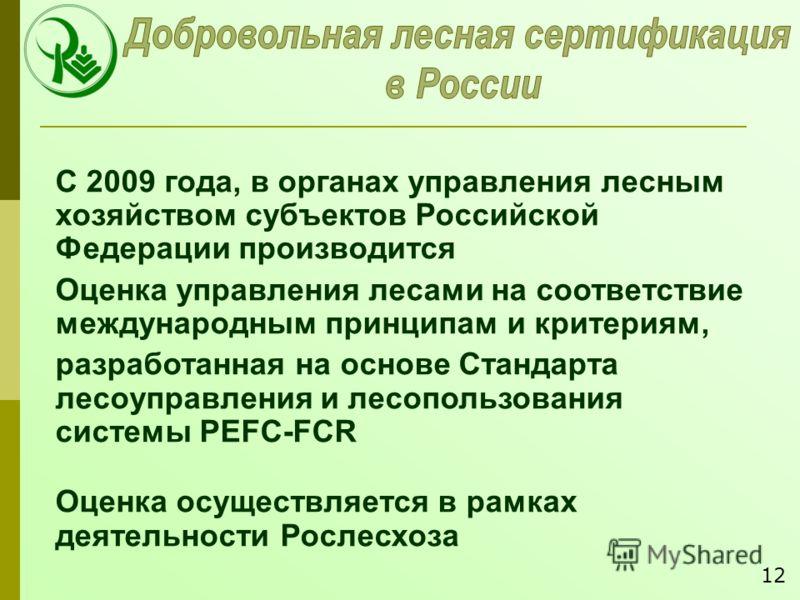 С 2009 года, в органах управления лесным хозяйством субъектов Российской Федерации производится Оценка управления лесами на соответствие международным принципам и критериям, разработанная на основе Стандарта лесоуправления и лесопользования системы P