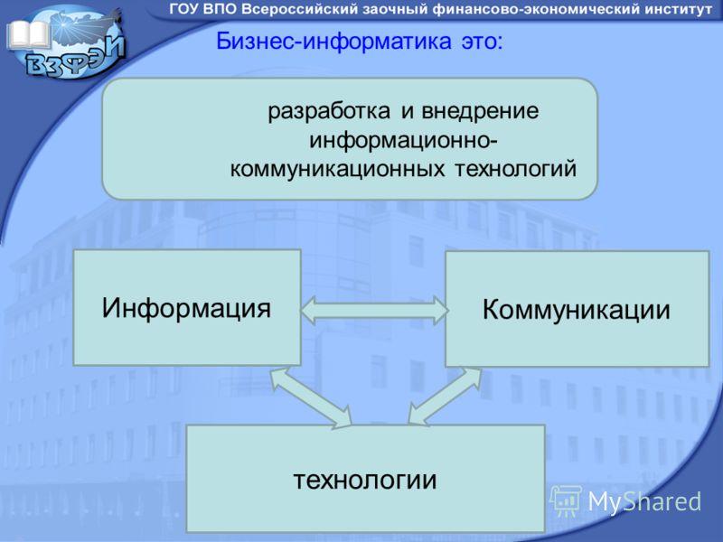 Бизнес-информатика это: Информация Коммуникации технологии разработка и внедрение информационно- коммуникационных технологий