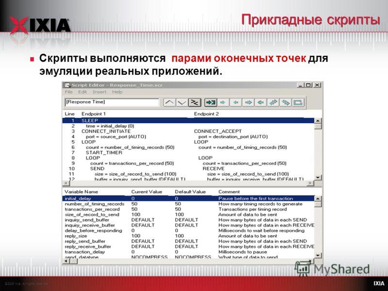 ©2008 Ixia. All rights reserved. IXIA Прикладные скрипты Скрипты выполняются парами оконечных точек для эмуляции реальных приложений.