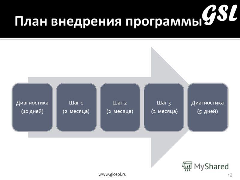 www.glosol.ru 12 Диагностика (10 дней) Шаг 1 (2 месяца) Шаг 2 (2 месяца) Шаг 3 (2 месяца) Диагностика (5 дней)