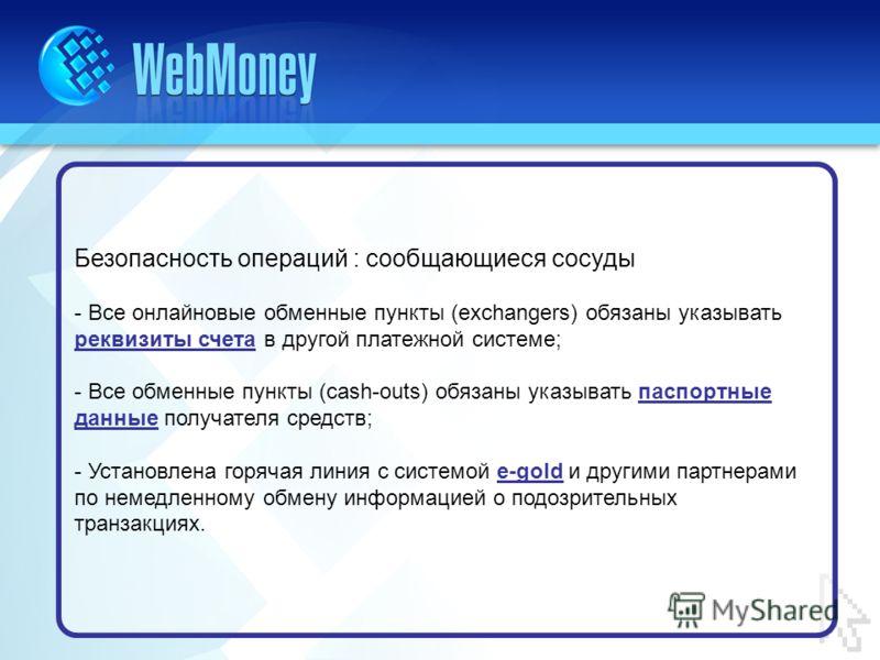 Безопасность операций : сообщающиеся сосуды - Все онлайновые обменные пункты (exchangers) обязаны указывать реквизиты счета в другой платежной системе; - Все обменные пункты (cash-outs) обязаны указывать паспортные данные получателя средств; - Устано