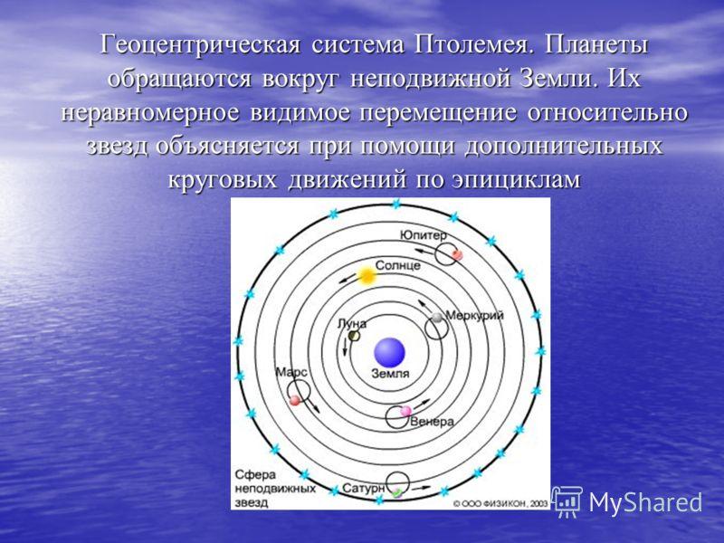 Геоцентрическая система Птолемея. Планеты обращаются вокруг неподвижной Земли. Их неравномерное видимое перемещение относительно звезд объясняется при помощи дополнительных круговых движений по эпициклам