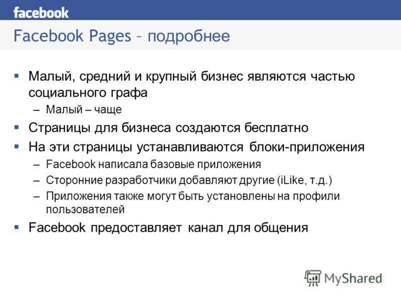 Facebook Pages – подробнее Малый, средний и крупный бизнес являются частью социального графа –Малый – чаще Страницы для бизнеса создаются бесплатно На эти страницы устанавливаются блоки-приложения –Facebook написала базовые приложения –Сторонние разр
