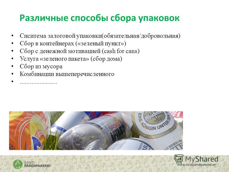 Различные способы сбора упаковок Сиситема залоговой упаковки(обязательная/добровольная) Сбор в контейнерах («зеленый пункт») Сбор с денежной мотивацией (cash for cans) Услуга «зеленого пакета» (сбор дома) Сбор из мусора Комбинации вышеперечисленного.
