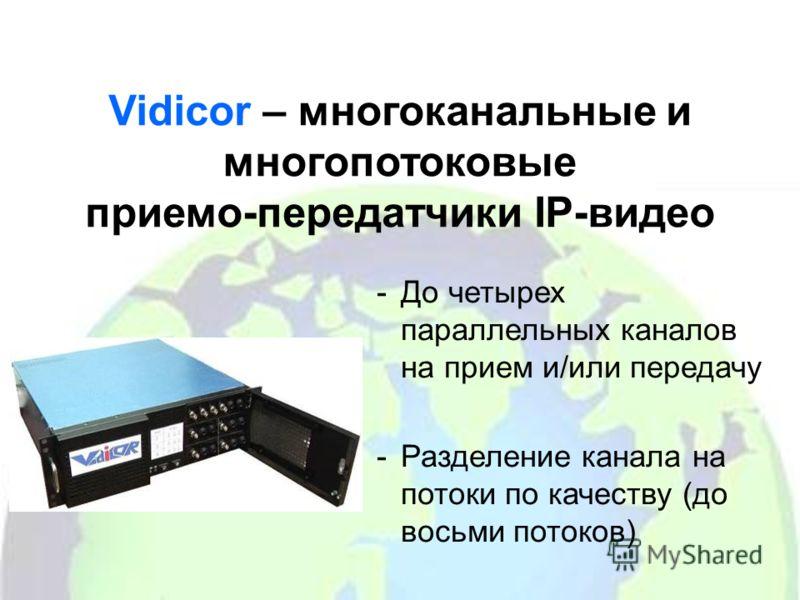 Vidicor – многоканальные и многопотоковые приемо-передатчики IP-видео -До четырех параллельных каналов на прием и/или передачу -Разделение канала на потоки по качеству (до восьми потоков)