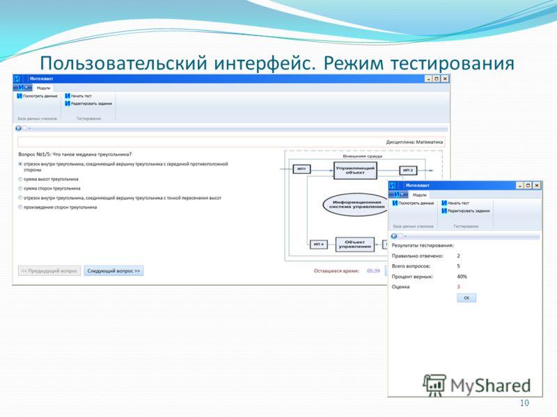 Пользовательский интерфейс. Режим тестирования 10