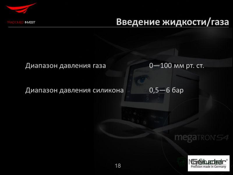 18 Диапазон давления газа0100 мм рт. ст. Диапазон давления силикона0,56 бар Введение жидкости/газа