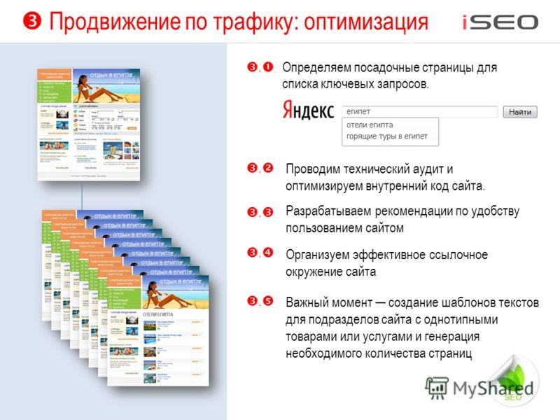 Продвижение по трафику: оптимизация Важный момент создание шаблонов текстов для подразделов сайта с однотипными товарами или услугами и генерация необходимого количества страниц Определяем посадочные страницы для списка ключевых запросов. Проводим те