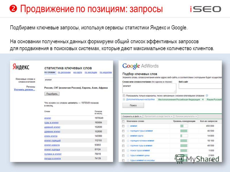 Продвижение по позициям: запросы Подбираем ключевые запросы, используя сервисы статистики Яндекс и Google. На основании полученных данных формируем общий список эффективных запросов для продвижения в поисковых системах, которые дают максимальное коли
