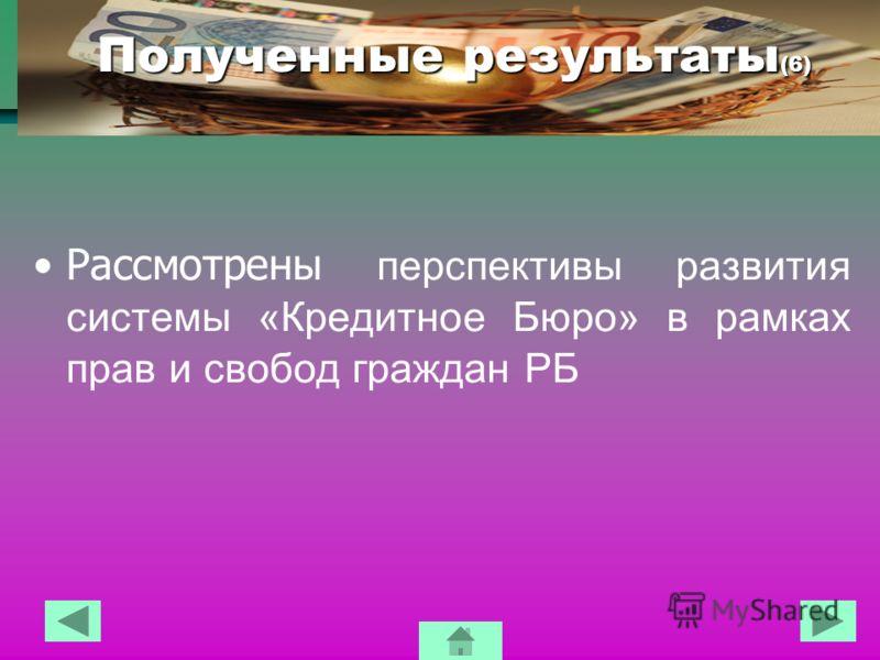 Полученные результаты (6) Рассмотрены перспективы развития системы «Кредитное Бюро» в рамках прав и свобод граждан РБ