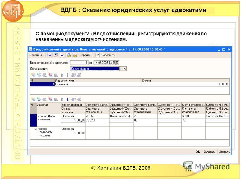 © Компания ВДГБ, 200 6 ВДГБ : Оказание юридических услуг адвокатами С помощью документа «Ввод отчислений» регистрируются движения по назначенным адвокатам отчислениям.