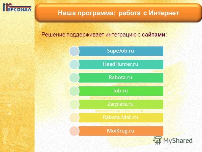 Наша программа: работа с Интернет Решение поддерживает интеграцию с сайтами: SupeJob.ru HeadHunter.ru Rabota.ru Job.ru Zarplata.ru Rabota.Mail.ru MoiKrug.ru