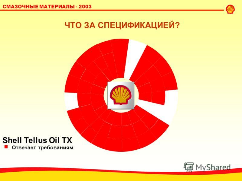 SHELL LUBRICANTS 19 СМАЗОЧНЫЕ МАТЕРИАЛЫ - 2003 Shell Tellus Oil S Отвечает требованиям ЧТО ЗА СПЕЦИФИКАЦИЕЙ?