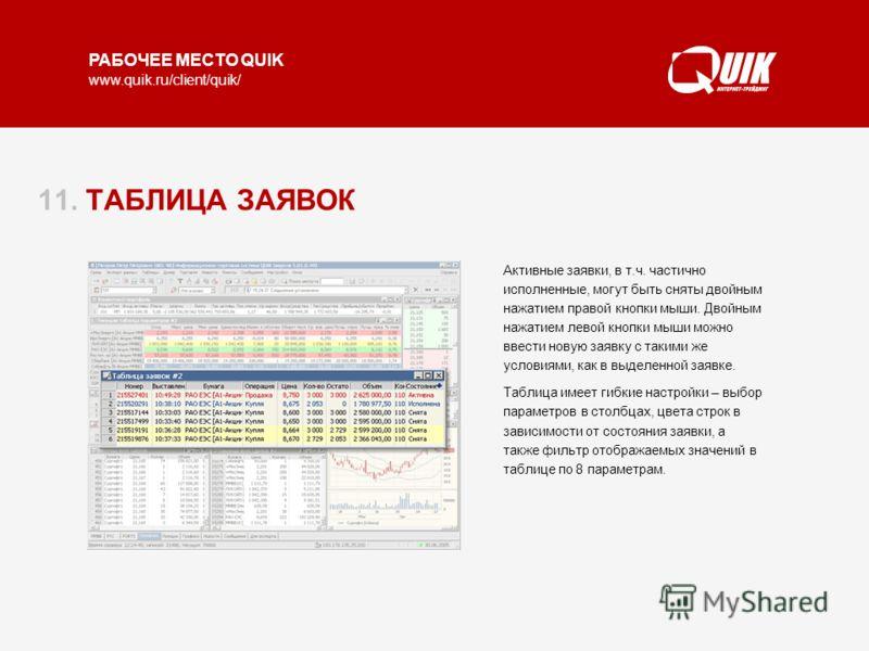 РАБОЧЕЕ МЕСТО QUIK www.quik.ru/client/quik/ 11. ТАБЛИЦА ЗАЯВОК Таблица показывает состояние заявок в торговой системе по счетам и кодам клиента, которые доступны данному пользователю системы QUIK. Состояние заявок выделяется цветом шрифта: красным –