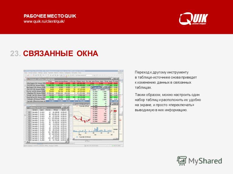 РАБОЧЕЕ МЕСТО QUIK www.quik.ru/client/quik/ 23. СВЯЗАННЫЕ ОКНА Режим связанных окон позволяет использовать один набор окон для просмотра информации по разным инструментам. Работает режим следующим образом: на Таблице текущих значений курсором выбирае