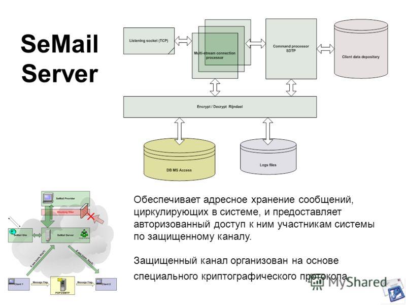 SeMail Server Обеспечивает адресное хранение сообщений, циркулирующих в системе, и предоставляет авторизованный доступ к ним участникам системы по защищенному каналу. Защищенный канал организован на основе специального криптографического протокола.