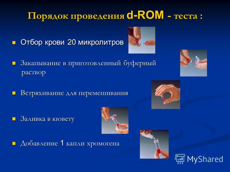 Порядок проведения d-ROM - теста : Отбор крови 20 микролитров Отбор крови 20 микролитров Закапывание в приготовленный буферный Закапывание в приготовленный буферный раствор раствор Встряхивание для перемешивания Встряхивание для перемешивания Заливка