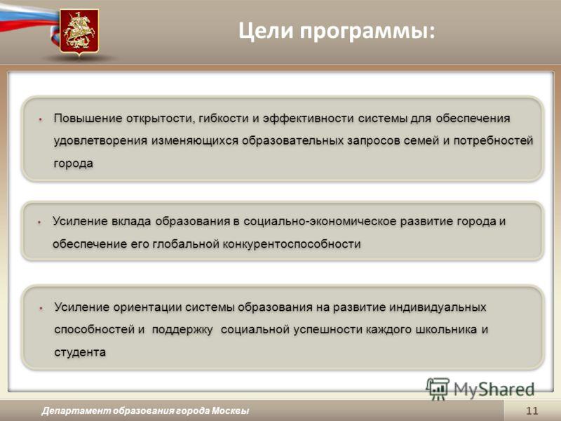 Цели программы: Департамент образования города Москвы 11 Повышение открытости, гибкости и эффективности системы для обеспечения удовлетворения изменяющихся образовательных запросов семей и потребностей города Усиление вклада образования в социально-э
