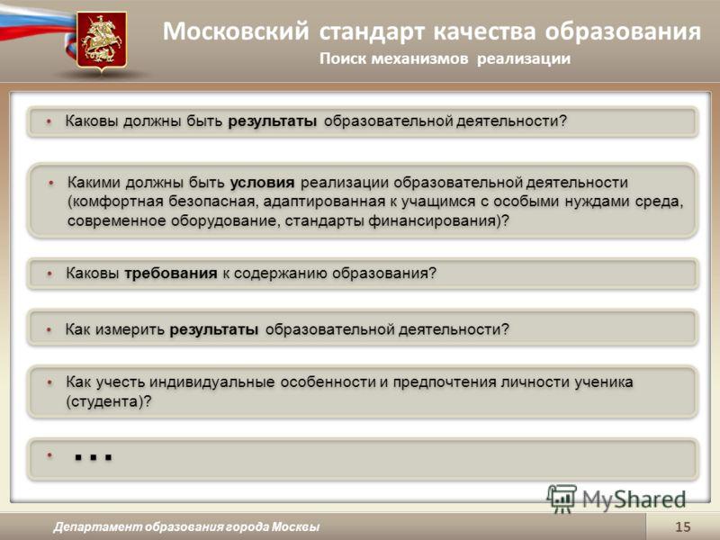 Московский стандарт качества образования Поиск механизмов реализации Департамент образования города Москвы 15 Каковы должны быть результаты образовательной деятельности? Какими должны быть условия реализации образовательной деятельности (комфортная б