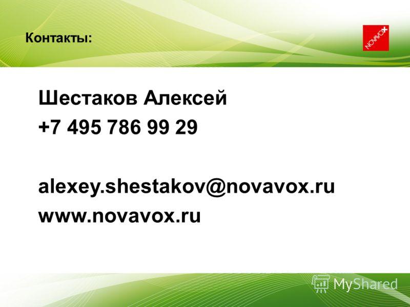 Шестаков Алексей +7 495 786 99 29 alexey.shestakov@novavox.ru www.novavox.ru Контакты: