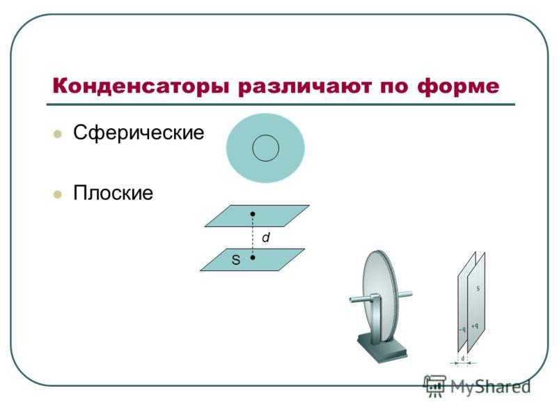 Конденсаторы различают по форме Сферические Плоские d S