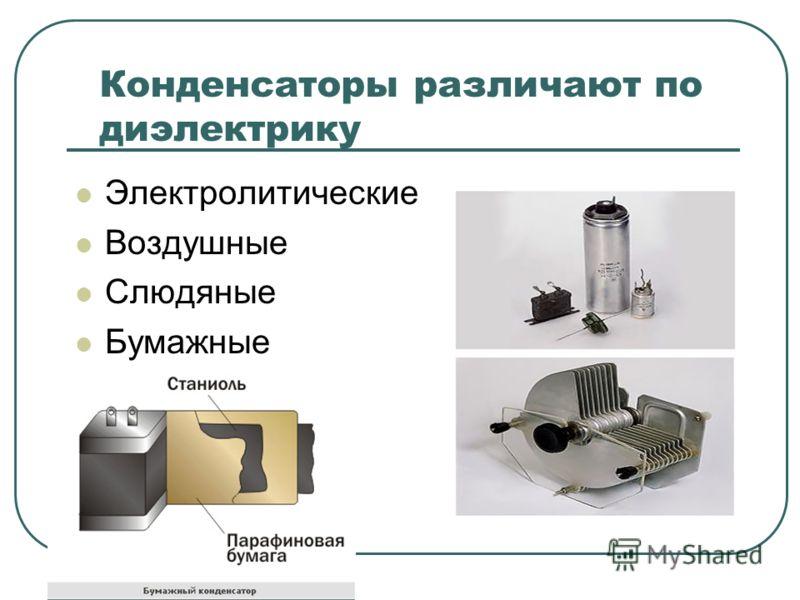 Конденсаторы различают по диэлектрику Электролитические Воздушные Слюдяные Бумажные