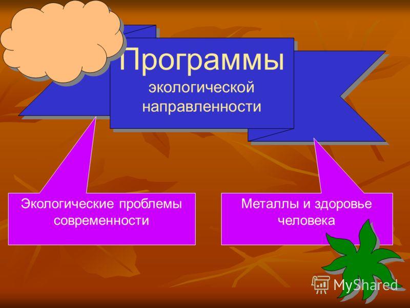 Программы экологической направленности Экологические проблемы современности Металлы и здоровье человека