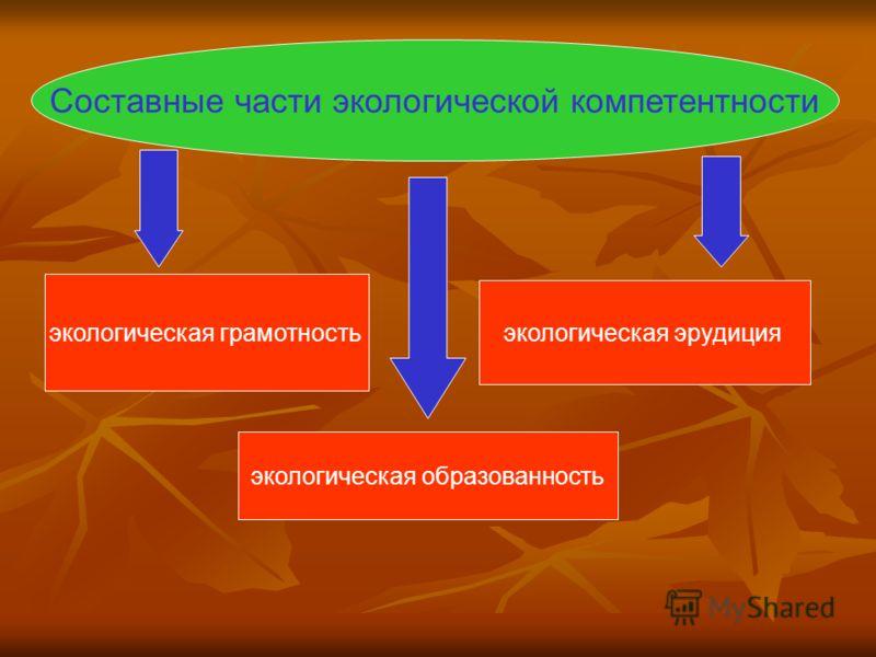 экологическая грамотность экологическая эрудиция экологическая образованность Составные части экологической компетентности