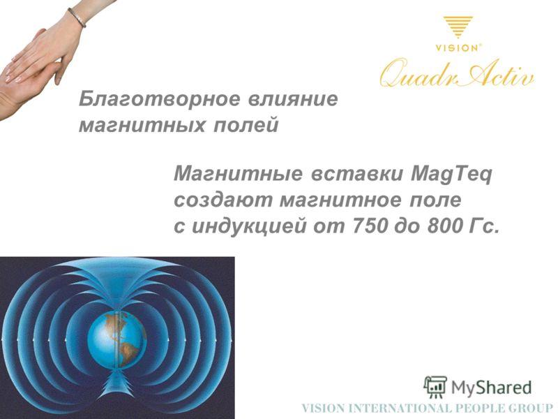Благотворное влияние магнитных полей Магнитные вставки MagTeq создают магнитное поле с индукцией от 750 до 800 Гс.