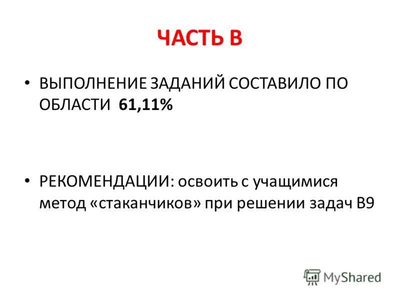 ЧАСТЬ В ВЫПОЛНЕНИЕ ЗАДАНИЙ СОСТАВИЛО ПО ОБЛАСТИ 61,11% РЕКОМЕНДАЦИИ: освоить с учащимися метод «стаканчиков» при решении задач В9