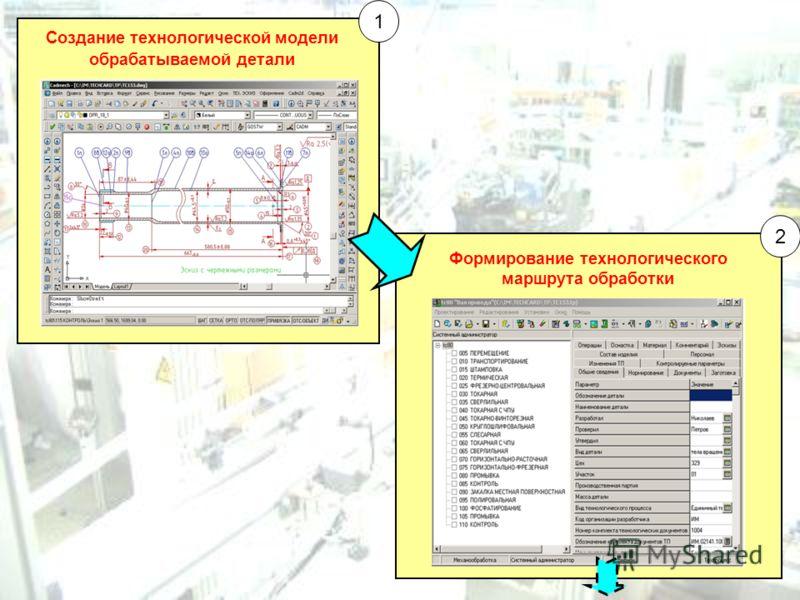 Создание технологической модели обрабатываемой детали Формирование технологического маршрута обработки 1 2