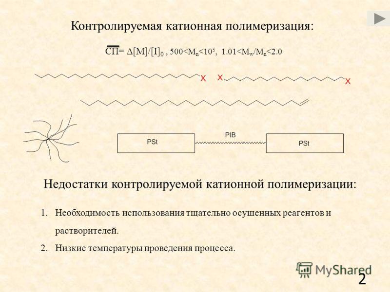 Контролируемая катионная полимеризация: СП= [M]/[I] 0, 500