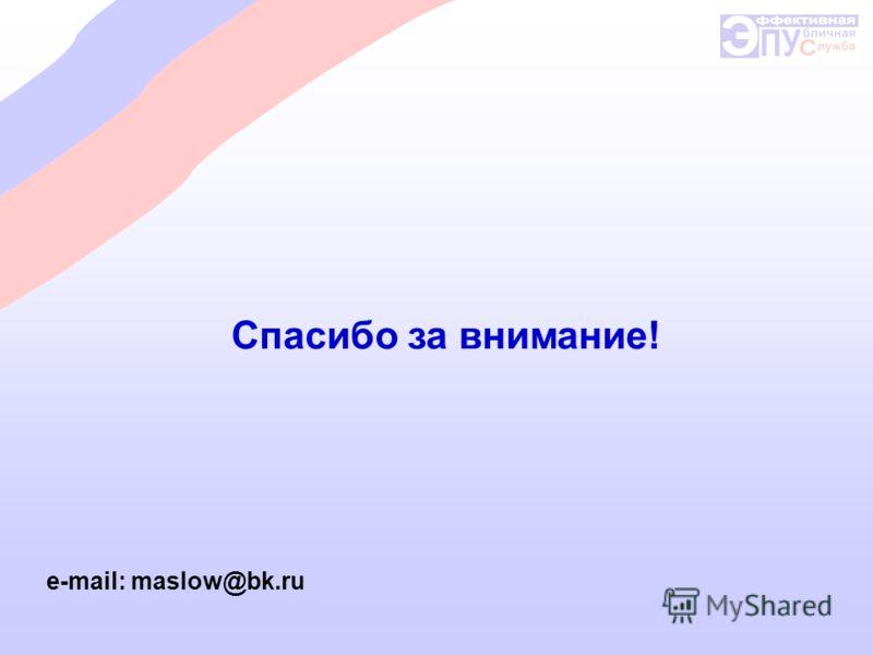 Спасибо за внимание! e-mail: maslow@bk.ru