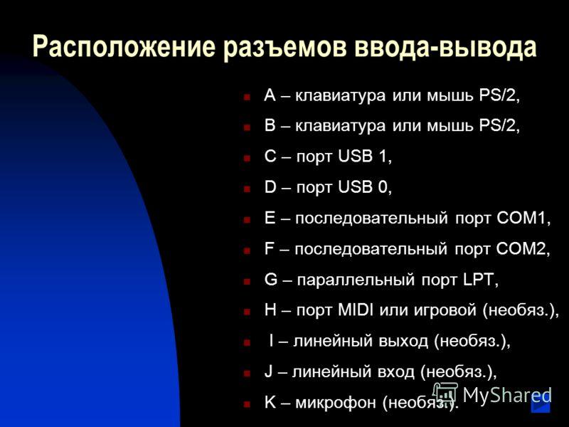 Расположение разъемов ввода-вывода A – клавиатура или мышь PS/2, B – клавиатура или мышь PS/2, C – порт USB 1, D – порт USB 0, E – последовательный порт COM1, F – последовательный порт COM2, G – параллельный порт LPT, H – порт MIDI или игровой (необя