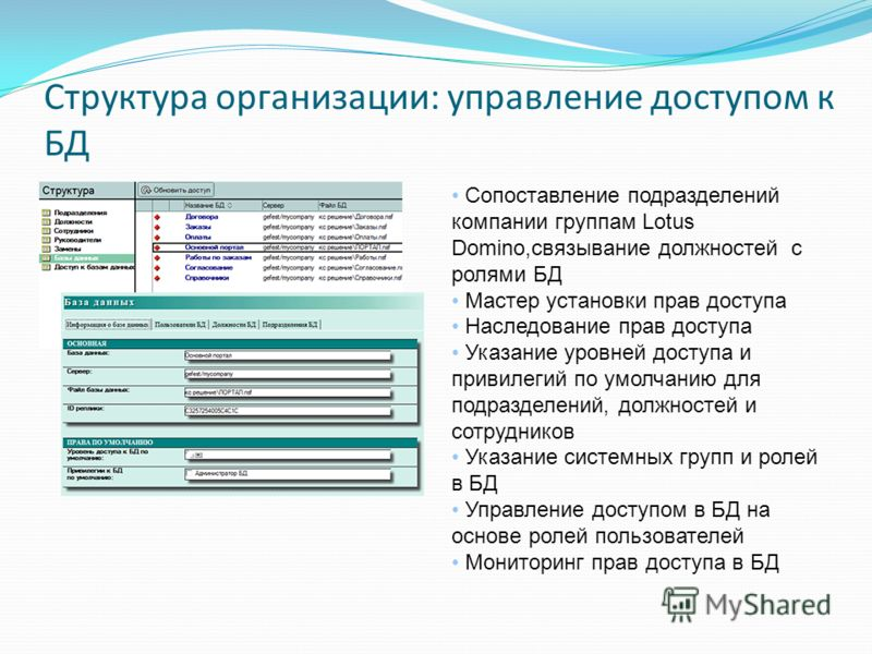Структура организации: управление доступом к БД Сопоставление подразделений компании группам Lotus Domino,связывание должностей с ролями БД Мастер установки прав доступа Наследование прав доступа Указание уровней доступа и привилегий по умолчанию для