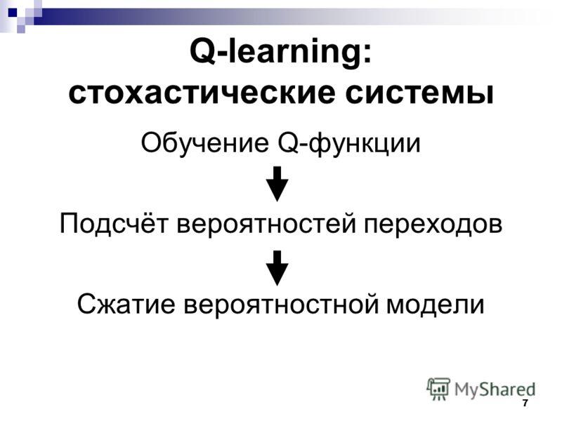 7 Q-learning: стохастические системы Обучение Q-функции Подсчёт вероятностей переходов Сжатие вероятностной модели