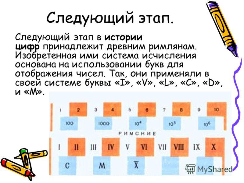 Следующий этап. Следующий этап в истории цифр принадлежит древним римлянам. Изобретенная ими система исчисления основана на использовании букв для отображения чисел. Так, они применяли в своей системе буквы «I», «V», «L», «C», «D», и «M».